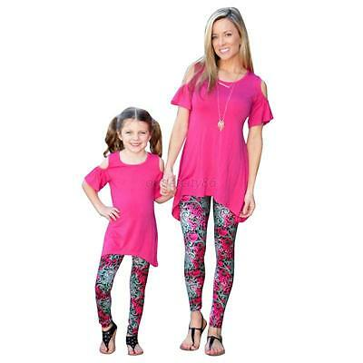 Capris Leggings Trousers Family Matching Mother Daughter Girls Baby Floral Pants