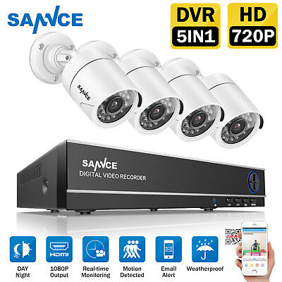 SANNCE 1080N 4CH CCTV DVR 1500TVL 720P InOutdoor IR Security Camera System 3.6mm