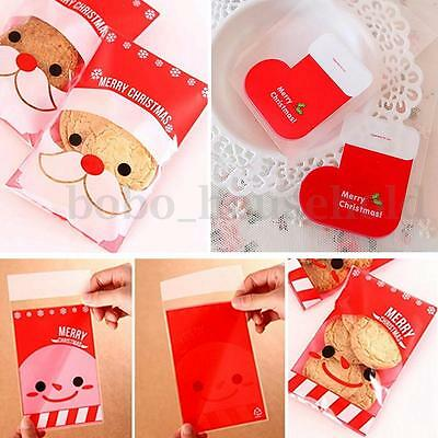 100 PCS Christmas Cookie Bags Stocking Santa Candy Sweet Party Gift Cello Xmas