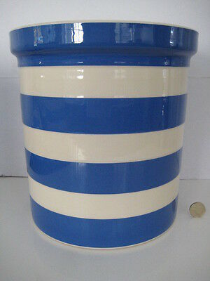 T G Green Cornishware Cornish Blue Stripe Lg Holder Bread Bin Crock Canister Jar