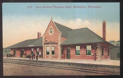 Postcard Bellingham Wa/Washington Great Northern Rr Train Depot Station 1907