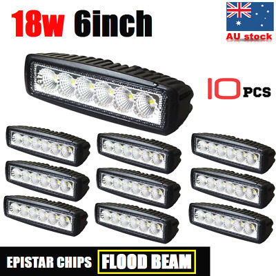 10x 18W 6INCH LED WORK LIGHT BAR OFFROAD FLOOD DRIVING AUTO TRUCK UTE 4WD LAMP