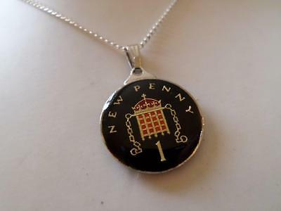 Vintage Enamelled Penny Coin 1977 Pendant & Necklace. Xmas Or Birthday Present