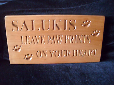"Handmade wooden wall plaque - ""Salukis Leave Pawprints On Your Heart"""