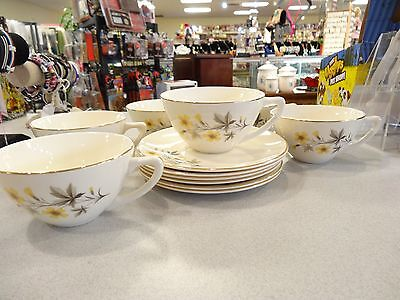 """Set Of 6 Vintage Edwin Knowles """"sun Light"""" Coffee Tea Cups  And Saucers L5"""