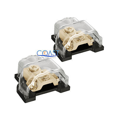2X Car Gold Ground Distribution Block with Any Gauge In Out w/ Ring Terminal