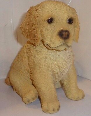 Sitting GOLDEN RETRIEVER Puppy Dog - Life Like Figurine Statue Home/ Garden NEW