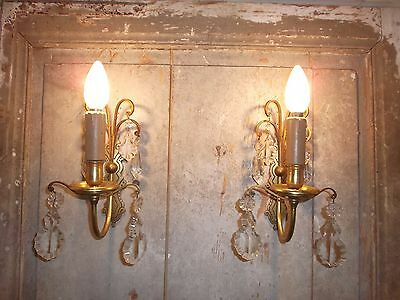 French pair of patina gold bronze crystals -  wall light sconces  antique
