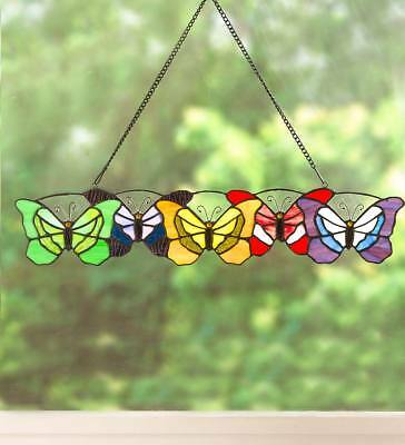 Wind & Weather Butterflies Stained Glass Hanging Art