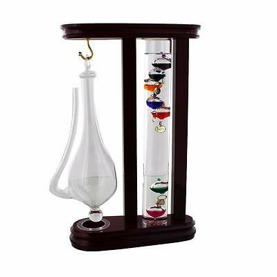 Galileo thermometer and Storm Glass Weather Station in Wood Frame