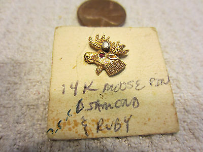 Antique/vintage 14K Gold Moose Lapel Pin With Diamond & Ruby Looks Excellent