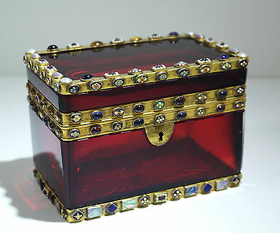 French Pigeon Blood Red Glass Limoges Enamel Micromosaic Stone Inlay Casket/Lock