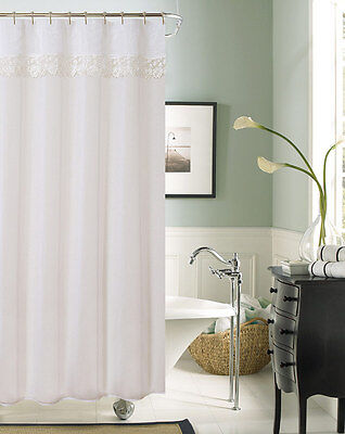 Julia Fabric Shower Curtain With Flower Lace Top, White, 70x72 Inches