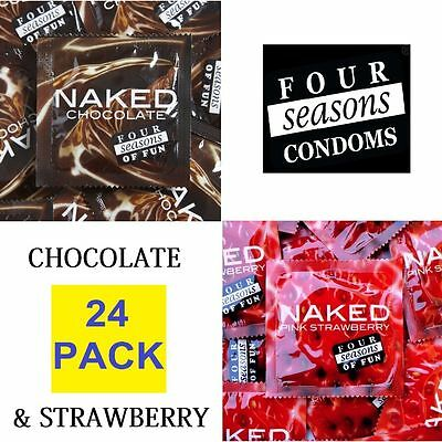 24 x FOUR SEASONS NAKED CHOCOLATE & STRAWBERRY CONDOMS Condom Hens Flavoured