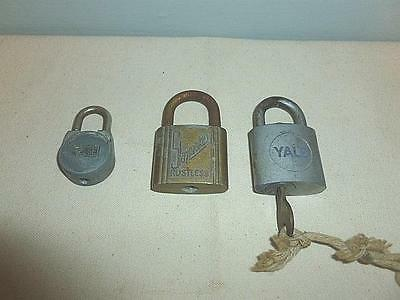 Three (3) Vintage Padlocks Locks Slaymaker-Yale-Reese Yale Has Key