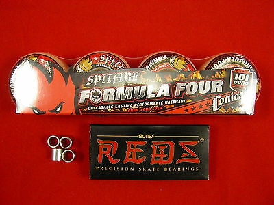 4 x SPITFIRE FORMULA FOUR CONICAL 52mm /101 DURO - SKATE BOARD WHEELS + REDS