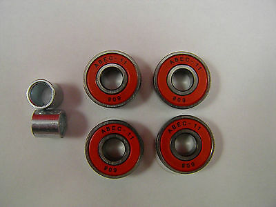 4 x ABEC 11 SCOOTER BEARINGS *NEW* RED SHIELDS