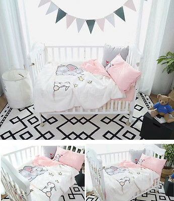 4PC Elephant Nursery Baby Boys Girls Cot Bed Duvet Quilt Cover Sheet Cushion Set