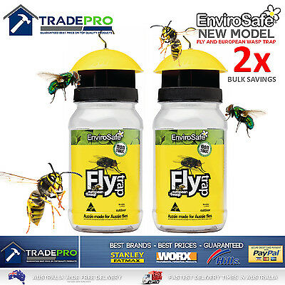 2x Fly Wasp Trap Genuine EnviroSafe® Ultimate with Bait Blow Horse House Catcher