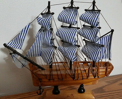 Ship Craft Wooden Sailing Sailboat NEW Handmade Vintage Nautical Model Decor