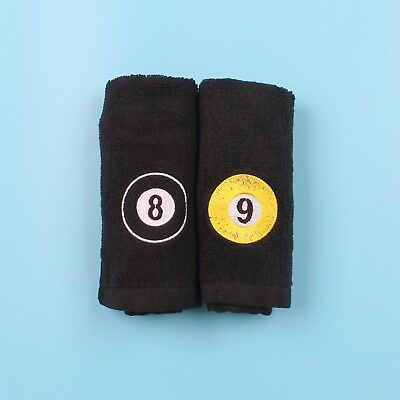 Large Size Black 8 / 9 Ball Cotton Towel Snooker Pool Cue Towels with Belt Clip
