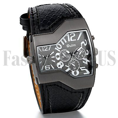 Fashion Men's Military Dual Time Dial Leather Black Blue Band Sport Wrist Watch