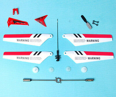 Full Set 7pcs Replacement Parts Blades  for Syma S107/S107G RC Helicopter Red