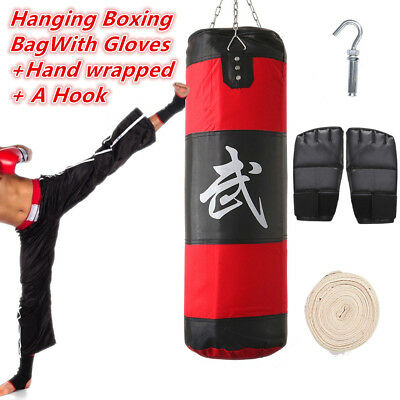 80cm Heavy Empty Hanging Punching Bag Training Gloves + Wraps Boxing MMA Kit New