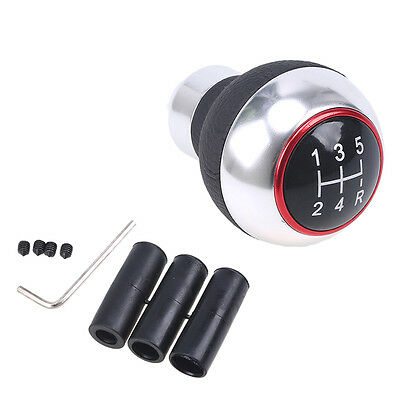 1*Universal Aluminum Manual Black Leather 5-Speed Gear Shift Knob Shifter Lever