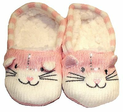 Personalised Childrens Slippers - Cat Boy Girl Initial - Blue Pink Socks Grippy