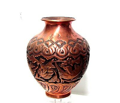 A Beautiful Antique Persian Copper Vase covered with high Relief Patterns