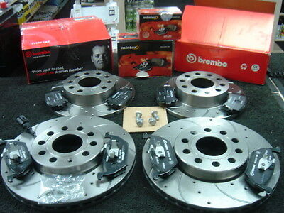 VW CADDY 1.6TDi C20 BLUEMOTION BRAKE DISC FRONT REAR DRILLED GROOVED MINTEX PAD