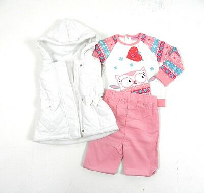 Lily & Jack Baby Girls 3 Pc Set Outfit Body Warmer Gilet Jumper Shirt Cord Pants
