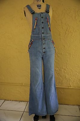 Vtg 60s 70s Blue Denim Overalls Jumpsuit Bell Bottoms Boho Hippie  Floral Beaded