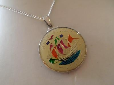 Vintage Enamelled Half Penny Coin 1957 Pendant & Necklace. Birthday / Xmas Gifts