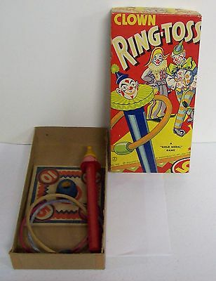 Vintage 1939 TRANSOGRAM Ring Toss Game - Colorful Circus Clown Graphics Box