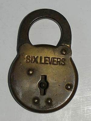 """Vtg or Antique """"Six Levers"""" Brass Lock-No Key"""
