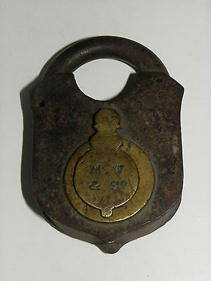 "Antique ""Mallory & Wheeler"" (M&W Co) Iron & Brass Lock-Keyhole Cover-No Key • CAD $27.72"