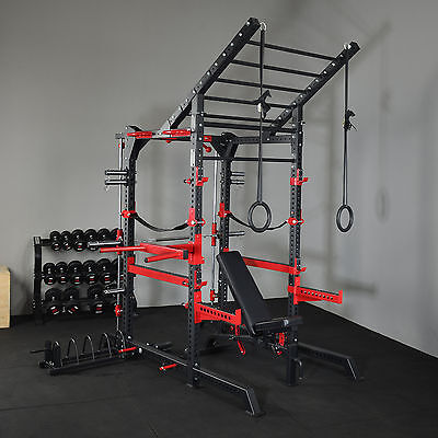 Power Rack Smith Machine Combo Agility Ladder + FID HD Bench Fully Accesorised