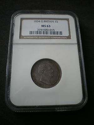 1834 King William IV Great Britain Shilling 1/- Coin NGC MS63