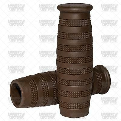 """Lowbrow Customs Knurled Grips Chocolate Brown 1"""" tracker cafe racer Harley"""