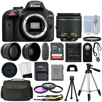 Nikon D3400 Digital SLR Camera Black + 3 Lens: 18-55mm VR Lens + 32GB Bundle