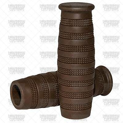 """Lowbrow Customs Knurled Motorcycle Grips Chocolate Brown 7/8"""" tracker cafe racer"""