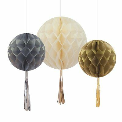 Honeycomb Tassel Baubles Gold, Silver & Cream Party Decoration - pack of 3