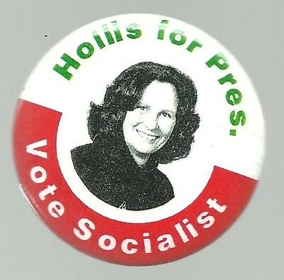 Vote Socialist Hollis For President 1996 Third Party Political Pin