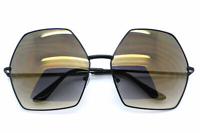 Oversized Women Fashion Sunglasses Hexagon Metal Frame Mirrored and Smoke Lens