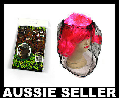 Mosquito Insect HEAD MESH NET Protector Bee Bug Fly Hat Mozzie Fishing Camping