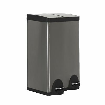 J.Burrows Stainless Steel Twin Compartment Pedal Bin 60L