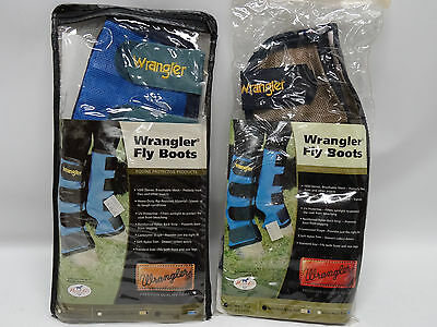 Protective Fly Boots - By Wrangler - Set Of 2: Gold Dust & Royal Blue - Nip/nos