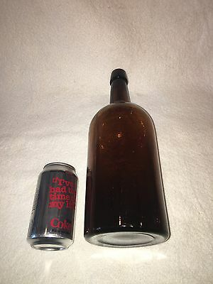 "Large Antique Blown Deep Amber Glass Bottle Ca. 1900 13"" Tall Cork"